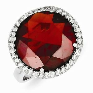 STERLING SILVER HALO SETTING RED STONE CZ COCKTAIL RING - SIZE 7
