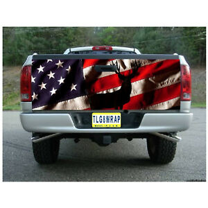 T35 AMERICAN FLAG DEER Tailgate Wrap Vinyl Graphic Decal Sticker LAMINATED