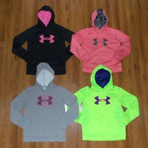 Girls Lot 4 UNDER ARMOUR Coldgear Big Logo STORM Pullover Hoodie Youth Large YLG