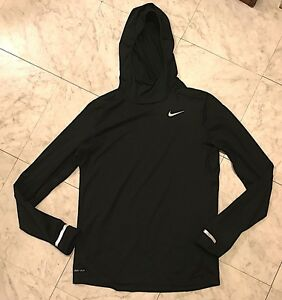 Men's Nike Dri-Fit Dry Element Running Hoodie -Black -Hooded Shirt -Size Small