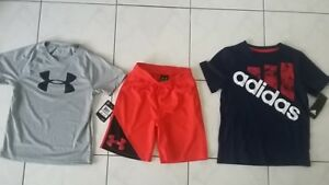 NWT BOYS lot size 5 Under Armour shorts top & Adidas t shirt lot