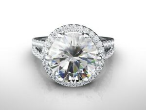 6.00 CT ROUND DVVS2 ENHANCED DIAMOND  ENGAGEMENT RING 18K WHITE GOLD GIFT