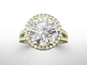 6.00 CT ROUND DVVS2 ENHANCED DIAMOND  ENGAGEMENT RING 18K YELLOW GOLD GIFT