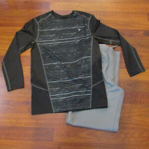 Old Navy Boys Active Black Long Sleeve Dry Fit Shirt & Gray Pants Sz Lg 10-12