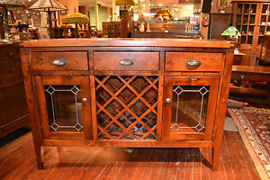 Mission Rustic Cherry Sideboard Buffet Server Wine Rack Bar with leaded glass