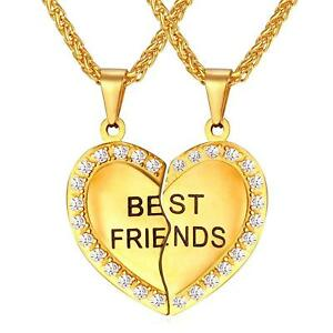 BFF Necklace For Girls Set of 2 Rhinestone Heart Shaped Friendship Pendant...