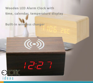 Wooden LED Alarm Clock Time Date Temperature Display w iPhone X Wireless Charger