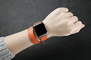 For Apple Watch 42mm 1 2 3 Double Tour Leather iWatch Strap Band Bracelet Orange