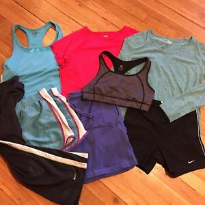 Lot Of 8 Athletic Workout Clothes Nike Champion Pants Shorts Shirts Womens Sz L