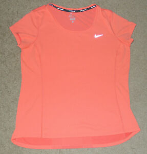 Womens Large L Nike Mesh Reflective Running Athletic Sports Vented Dri-Fit Shirt