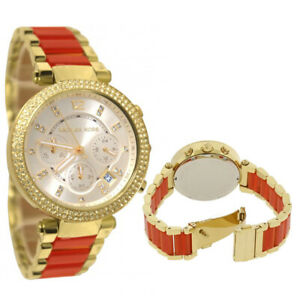 New Michael Kors MK6139 Women Parker Gold Tone Glitz Bracelet 39mm Ladies Watch