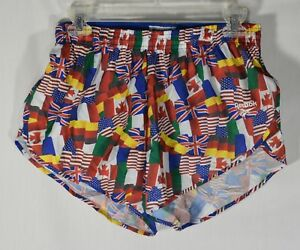 Vintage Reebok Mens Running Shorts Flags All Over Print Lined 27-34