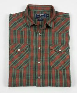 POLO SPORT Ralph Lauren Mens Red Green Plaid Oxford Snap Western Shirt Large