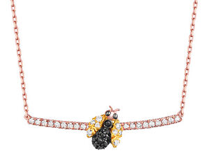 Prism Jewel Black Diamond with Natural Diamond Queen Bee Necklace With Chain