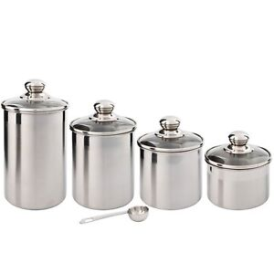 Beautiful Canister Set for Kitchen 4-Piece Stainless Steel w/Airtight Glass Lids
