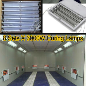 8 Sets 3KW SprayBaking Booth Infrared Paint Curing Lamps Heaters Heating Lights