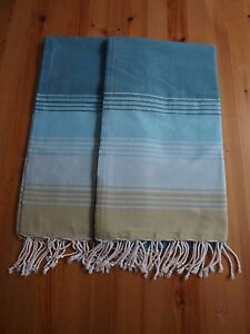 2 Pack Hand Loomed % 100 Cotton Peshtemal Turkish Bath Beach Towel Peshtemal GR