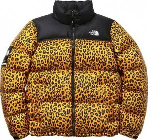 Supreme x The North Face FW '11 Yellow Leopard Nuptse Jacket Sz Large