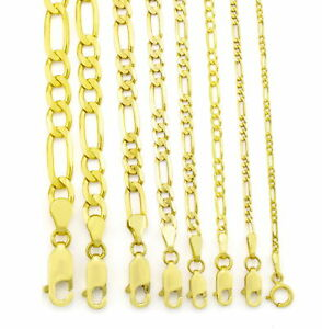 10K Real Yellow Gold 2mm 9mm Figaro Chain Link Pendant Necklace Bracelet 7 30
