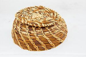 Vintage Pine Needle Basket with top Traditional design Rare