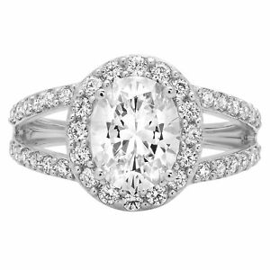 2.14ct Oval Cut Halo Anniversary Engagement Wedding Bridal Ring 14k White Gold