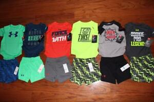 LOT 6 UNDER ARMOUR HEATGEAR BABY OUTFITS SHORTS BODYSUITS 69 36 MO $170+ NWT