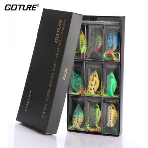 Goture 9pcs Frog Soft Lures 5.5cm 12.5g Topwater Bass Fishing Bait Crankbaits