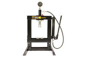 10 Ton Shop Press Bench Tool with Hand Pump H-Frame Hydraulic Equipment 14