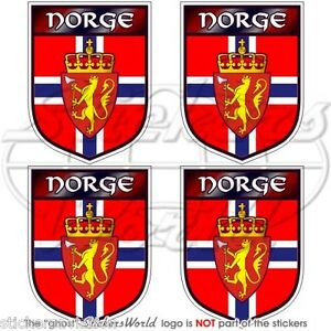 NORWAY Norwegian Shield NORGE 50mm 2 Vinyl Bumper Helmet Stickers Decals x4