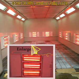 8x3KW Luxurious SprayBaking Booth Infrared Paint Curing Lamps Heating Lights