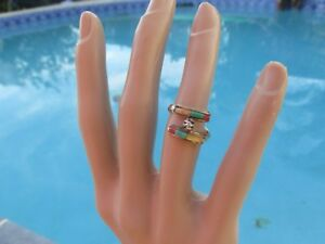 14K Yellow Gold Estate Vintage Ring Turquoise Coral Etc Gem Stone - READ