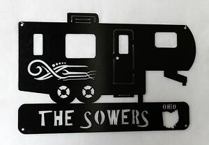 RV 5TH Wheel Camper Sign Personalized Camping Trailer Name and State Metal Art