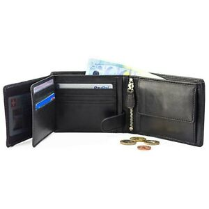 DiLoro Men's Leather Bifold Flip ID Zip Coin Wallet with RFID Protection in B...