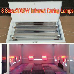 8 Sets 2KW SprayBaking Booth Infrared Paint Curing Lamps Heaters Heating Lights