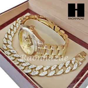 MEN FREEMASON MASONIC ICED OUT RAPPER 14K GOLD WATCH CUBAN BRACELET SET L023