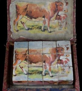 Antique 1900's Puzzle Box Wooden Cubes Lithograph Toy Game Animals VTG