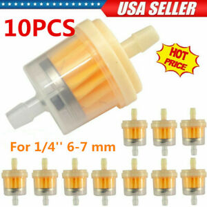 10 Universal Motor Inline Gas Oil Fuel Filter Small Engine For 1/4'' 6-7 mm Hose