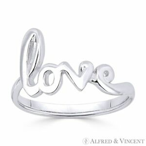 quot;Lovequot; Word Cursive Script .925 Sterling Silver Right Hand Fashion Promise Ring $20.24