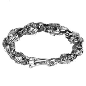Gothic skull 925 sterling silver men chain bracelet handmade punk rock bangle