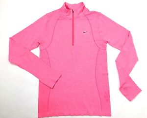 NEW Women's Nike 14 Zip Long Sleeve Shirt Pink Dry Fit Run Athletic $120-Large