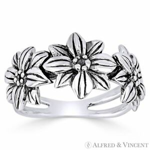 Triple Flower Charm Splitshank Band Oxidized 925 Sterling Silver Right Hand Ring $25.49