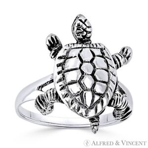 Tortoise Turtle Animal 3D Charm Oxidized .925 Sterling Silver Right Hand Ring $29.99