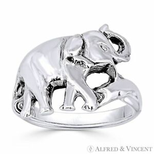 Elephant Animal Totem Charm Oxidized 925 Sterling Silver Right Hand Fashion Ring $27.74