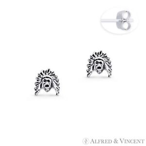 Native American Warrior Indian Head Charm Stud Earrings in .925 Sterling Silver