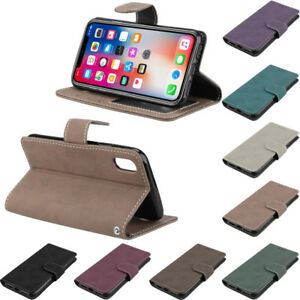 Retro Scrub Leather Magnetic Stand Card Solt Wallet Case Cover For Samsung Huawe