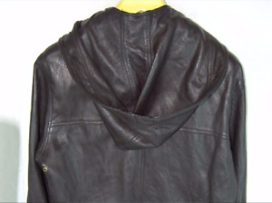 MIKE & CHRIS MEN BLACK LEATHER HOODIE  FITTED BIKER RIDING  JACKET SIZE  M