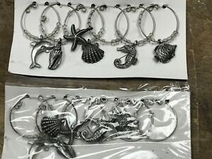 LOT 2 PACs 6 Per/pac Nautical NEW DRINK RING WINE GLASS MARKERS CHARMS GIFTS