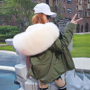 Luxury Real Large Fox Fur Collar Hooded Coat Women Cotton Short Parka Jacket New