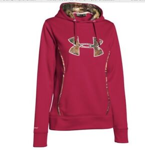 NWT Under Armour Storm 1 Loose Fit Womens Dark Pink wCamo Hoodie SizeL MSRP $65