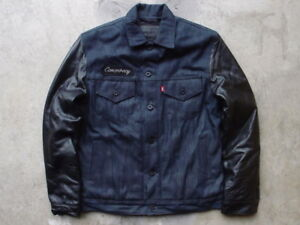 New Sample Levis x Neighborhood Leather Denim Motorcycle Trucker Jean Jacket